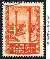 Bergama - TURKEY - CIRCA 1952: stamp printed by Turkey,...