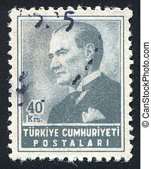 Kemal Ataturk - TURKEY - CIRCA 1954: stamp printed by...