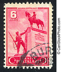 Ataturk statue - TURKEY - CIRCA 1943: stamp printed by...