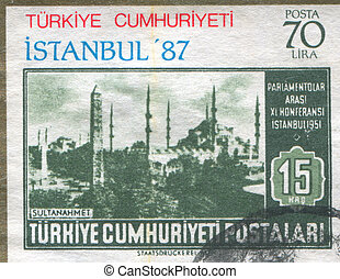 Mosque of Sultan Ahmed - TURKEY - CIRCA 1951: stamp printed...