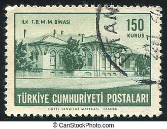 Parliament building - TURKEY - CIRCA 1963: stamp printed by...