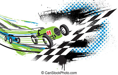 Race to the Finish Line Abstract illustration of two vintage...