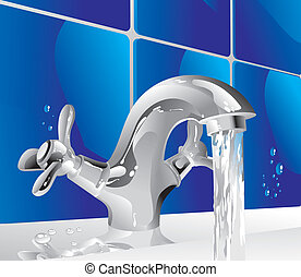 metal water tap - shiny metal tap with running water