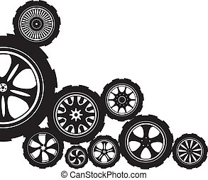 automotive wheel - black silhouette: automotive wheel with...