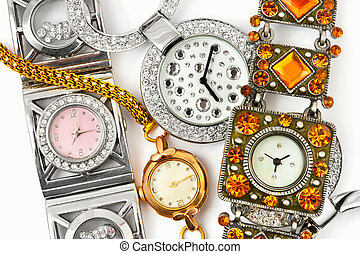 Woman watches - Group of woman watches - fashion background