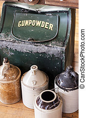 Gunpowder Container - Containers with gunpowder and various...