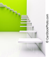 stair concept with green background (illustration)