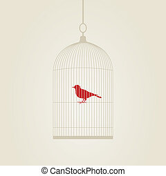 Birdie in a cage - Red bird in a cage A vector illustration