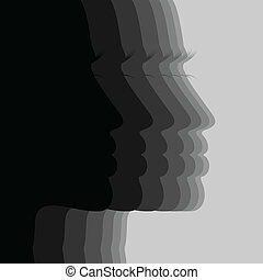 Face - Silhouette the person of the girl. A vector...