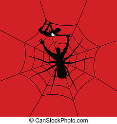 Man a spider - The man a spider has caught the girl A vector...