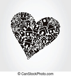 Heart the house - Heart made of houses A vector illustration...