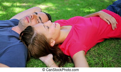 Peaceful couple lying on the grass while napping in a...