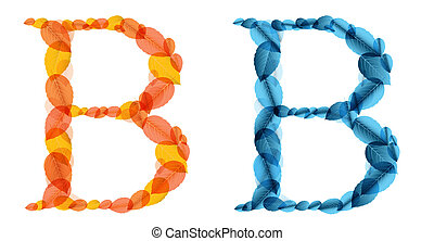 Vector alphabet letters made from orange and blue leafs. Vector illustration