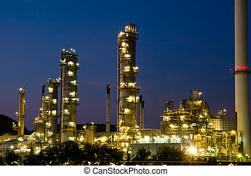 Petrochemical industry on sunset. - Image of petrochemical...