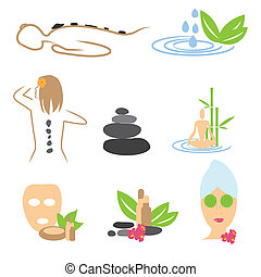 Collection of spa, massage, wellness icons