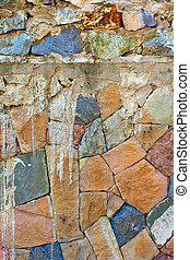colored Pattern of old stone Wall Surfaced