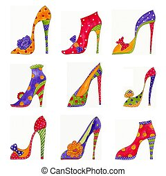 Fashion shoes pattern - Artistic work. Watercolors on paper