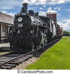 pradera, tren, estación