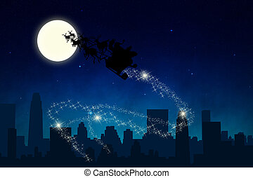 Santa Sleigh Ride in the Night - Santas Sleigh illustration:...