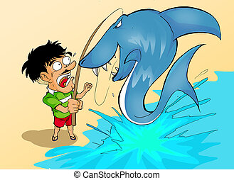 Catch a Shark - Cartoon illustration of a man fishing and...