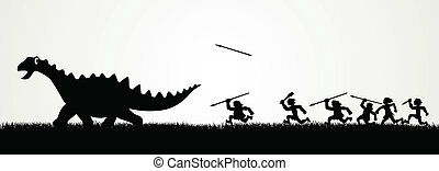 Hunting a Dinosaur - Cartoon figures chasing a dinosaur