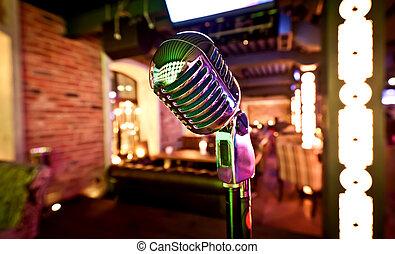 Retro, micrófono, etapa
