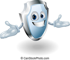 Shield security character mascot - Illustration of a smiling...