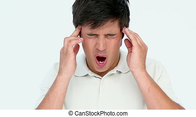 Man with headache against white background