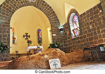The Church of Primacy - Tabgha The interior of the church by...