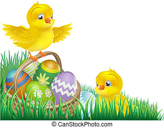 Easter chicks and egg basket - An Easter chicks and Easter...