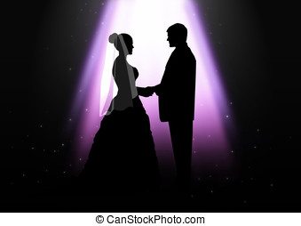 Wedding Ceremony - Silhouette illustration of a bride and...