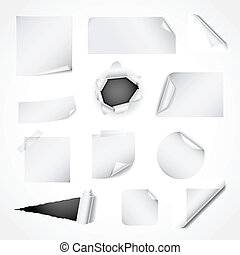 Set of white paper design elements - Paper design elements -...
