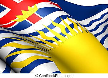 Flag of British Columbia, Canada. Close Up.