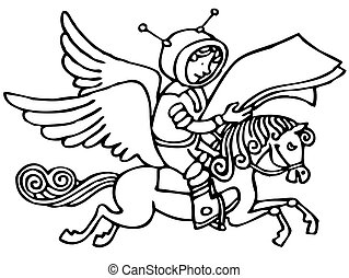 Space messenger riding horse in the cosmos