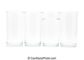 4 glasses with water in one glass - Four glasses with water...