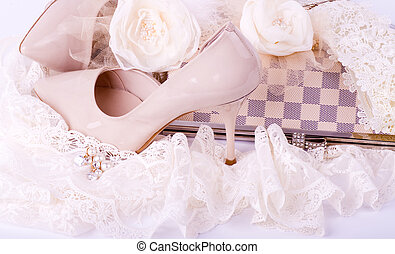 bridal shoes, lace, bag and beads - The beautiful bridal...
