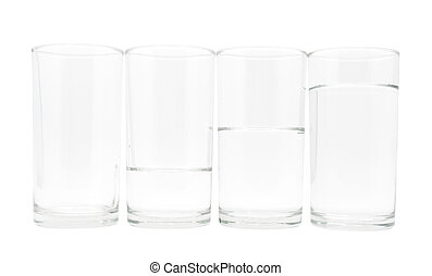 4 glasses with three level of water - Four glasses with...