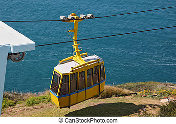 The cable car in entertaining center on border of Israel -...