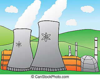 Nuclear Power Plant - Hand-drawn Illustration of Nuclear...