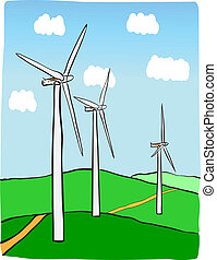 Wind power plant - Hand-drawn illustration of windmill power...