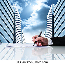 Business contract - Businessman signing business contract