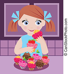 Little girl in kitchen with cupcake