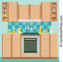 Kitchen furniture. Interior. - Vector illustration, color...