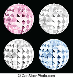 Four crystal on black space Vector - Four crystal on black...