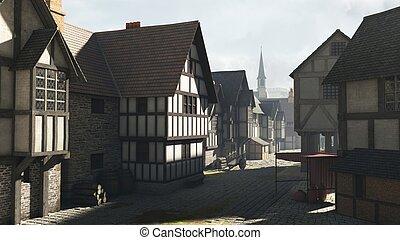 Street scene in a Mediaeval Town - Street Scene set in a...