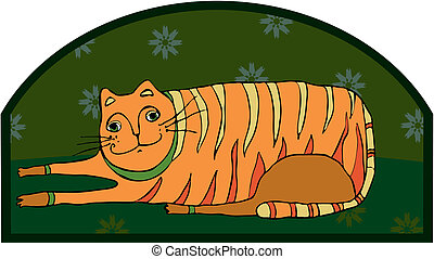 Big Striped Cat - The big striped cat lies on a floor