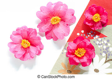 Camellia with cloth - Pink camellia flowers with old...
