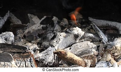 Burning charcoal ready for barbeque