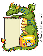 Dragon Gold Chest - Green dragon sits on a gold chest with a...