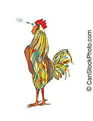 Cock Crow - The bright multi-coloured cock shouts